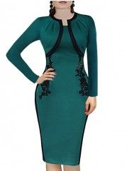 Vintage Lace With Zips Fake Two-piece Bodycon-dress