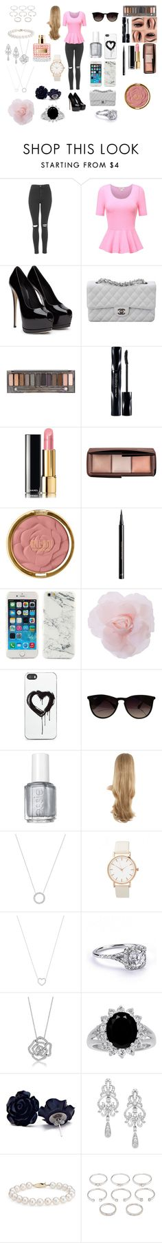 """""""pinky style"""" by xxecmxx on Polyvore featuring mode, Topshop, Chanel, Urban Decay, Shiseido, Hourglass Cosmetics, Milani, H&M, Zero Gravity en Ray-Ban"""