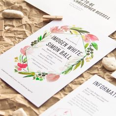 Paperlust - floral and geometric wedding invitation design.