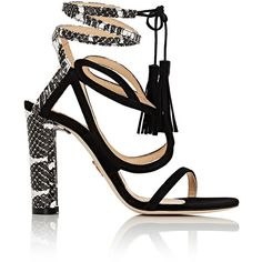 Chelsea Paris Women's Sultan Suede & Snakeskin Sandals ($359) ❤ liked on Polyvore featuring shoes, sandals, black, wrap sandals, suede sandals, black suede shoes, chunky high heel sandals and snakeskin sandals
