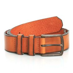 Risley Two Tone Branded Rivet Leather Belt // Orange + Black (32)