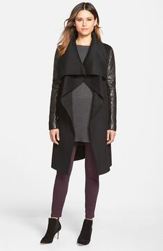Mackage+Wool+Blend+Coat+with+Leather+Sleeves+available+at+#Nordstrom