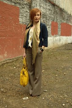 Bright purse, Beautiful scarf, very professional! This outfit makes for a great day