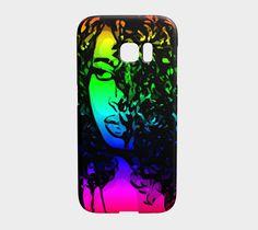 Rainbow Black Woman Samsung Galaxy Case , Galaxy Edge by Ocdesignzz. Artwork printed on Lexan plastic Galaxy Edge case with embedded print, UV and scratch resistant