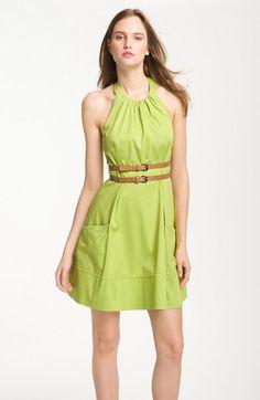 Jessica Simpson Green Belted Cotton Halter Dress