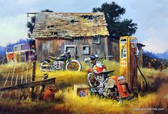 """Everything in this print screams """"OLD STYLE"""". Dale Klee includes a couple of old motorcycles, a rustic Shell Oil gas pump, and an empty case of Old Style beer. But there's more--a """"vintage"""" old truck,"""