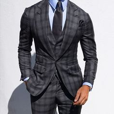 men suits business -- Click Visit link above to read Best Suits For Men, Cool Suits, Mens Fashion Suits, Mens Suits, Grad Suits, Graduation Suits, Checkered Suit, Plaid Suit, Mode Costume