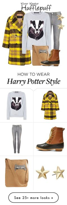 """Hufflepuff (Winter Weather) // Harry Potter"" by glitterbug152 on Polyvore featuring Pink Tartan, Sugarhill Boutique, Merona, Rebecca Minkoff, Winter, harrypotter, Hufflepuff and allegrabounds"