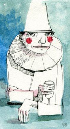 'Pierrot at La Closerie des Lilas' by Felicita Sala aka Babouche Rouge Le Clown, Creepy Clown, People Illustration, Illustration Art, Mime, Clown Paintings, Pierrot Clown, Circus Art, Art Corner