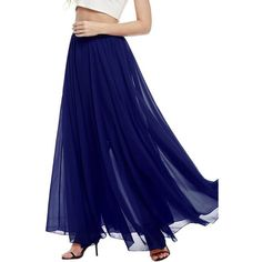 Dark Blue Solid Color Maxi Chiffon Skirt ($26) ❤ liked on Polyvore featuring skirts, chiffon skirts, long maxi skirts, long skirts, long blue maxi skirt and floor length skirts