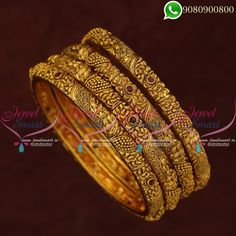 Antique Bangles Matte Look Jewellery 4 Pieces Set Latest Designs Online Antique Bangles Matte Look Jewellery 4 Pieces Set Latest Designs Online Width of each bangle is 6 mm. Size of the bangle can be chosen at the drop down menu available Gold Ring Designs, Gold Bangles Design, Gold Earrings Designs, Gold Jewellery Design, Necklace Designs, Gold Mangalsutra Designs, Gold Jewelry Simple, Indian Gold Bangles, Jewelry Stores