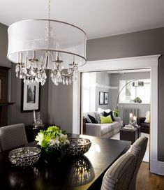 Dining Room: Benjamin Moore Chelsea Gray HC-168 / Living Room: Benjamin Moore Kendall Charcoal HC-166