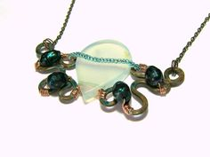 Aqua Chalcedony and Pearl Wired Wrapped Pendant . by LunaEssence