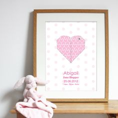 Bespoke #gift ideas: personalised #heart #poster design for girls