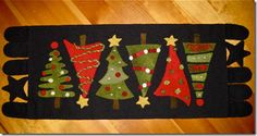 Christmas tree penny rug
