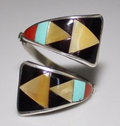 Zeno & Maryanne Edaakie Zuni Inlay Bypass Ring Sz 8 3/4 Sterling Coral Turquoise