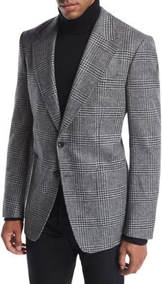 Tom Ford Shelton Base Prince of Wales Plaid Sport Jacket Mens Fashion Suits, Mens Suits, Jean Miro, Costume Prince, David Beckham Suit, Tom Ford Suit, Blazer Outfits Men, Checked Blazer, Wool Suit