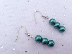 Teal Bridesmaid Earrings, Bridesmaid Gift, Pearl Earrings, Teal Jewelry, Beaded Jewelry on Etsy, $12.00