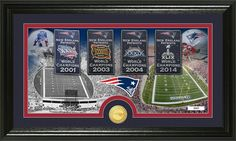 Patriots Four Super Bowl Banner Picture with Coin Photo Mint framed picture