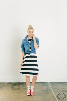 Chambray top over dress