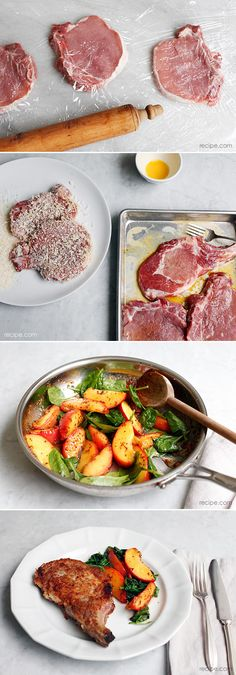 Savory & Sweet Dinner: Pork Chops with Peaches and Greens