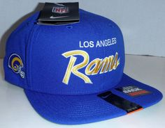 Los Angeles Rams NFL Football Nike Brand Script Snapback Cap Hat Adult Size #Nike #LosAngelesRams Nfl Los Angeles, Hats For Sale, Snapback Cap, Nfl Football, Caps Hats, Script, Bucket Hat, Nike, Bob