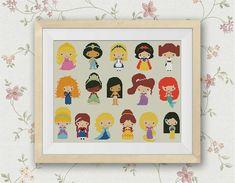 Disney Mini Princesses Cross Stitch Pattern