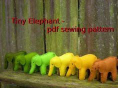 Tiny Elephant pdf sewing pattern by tiddliwinktoys on Etsy