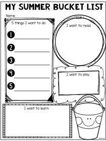 Summer Bucket List - The Teacher Bag End Of Year Activities, Summer Activities, Learning Activities, Indoor Activities, End Of School Year, School Days, End Of Year Party, Summer Worksheets, School Worksheets