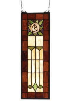 8 Inch W X 24 Inch H Pasadena Rose Stained Glass Window. 8 Inch W X 24 Inch H Pasadena Rose Stained Glass WindowSparkling Deep Brown Rootbeer glass frames surroundand Arts and Crafts inspired Plum colored rose withCottage Green leaves and accents and Cornerstone Beige background. The rectangular Meyda Tiffany originalstained glass window is framed in solid brass and hasbrass mounting bracket and chains included Theme:   Product Family:  Pasadena Rose Product Type:  WINDOWS Product…