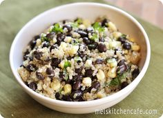 black bean, corn, and quinoa salad.  i have made several versions of this before. it's delicious. (UPDATE: this is goood. my usual version have uncooked veggies, but the cooked veggies added delicious flavor to the quinoa. next time i might add more veggies.)