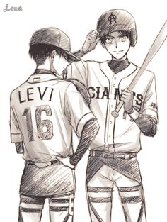 levi x eren   attack on titan / shingeki no kyojin<<I can't be the only one who thinks that Levi looks 1000% hotter in baseball uniform right??