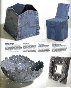 Bowl made from denim spirals. Recycle your denim! Finnish craft magazine organized a competition about denim recycling.  Suuri Käsityölehti 8/2007