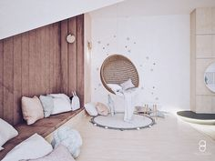 kids attic playroom/ reading zone / relax zone / bawialnia na poddaszu Attic Playroom, Hanging Chair, Anna, Relax, Reading, Kids, Furniture, Home Decor, Young Children
