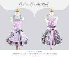 Cotton Candy Pink and Grey polka dots, every girls dream of wearing when baking those delicious cupcakes. Handmade by Creative Chics