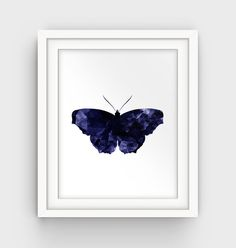 Blue Butterfly Art Navy Blue Art Print Butterfly by GalliniDesign