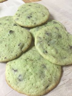 Mint chocolate chip cookies!  Some of my favorite.