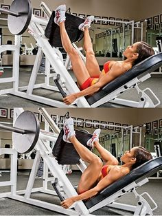 Wide-Stance Leg Press ● Overview: The wide stance transfers the action from the quads to the glutes and hamstrings. Lying back in a 45-degree leg press machine, place your feet high on the platform so only your heels are resting on it at the top outside corners, toes pointed out at 45-degree angles. Unhinge the weight, then bend your knees to bring the platform toward your chest. Pause for a one-count, then squeeze your glutes and hamstrings to press the weight back up