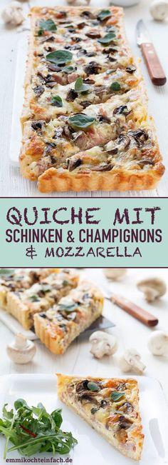 Quiche with Ham, Mushrooms and Mozzarella - Emmikochte .- Quiche with Ham, Mushrooms and Mozzarella Quiche Recipes, Pizza Recipes, Appetizer Recipes, Crockpot Recipes, Cake Recipes, Dinner Recipes, Pizza Snacks, Egg Recipes, Cooking Recipes