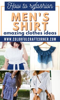 Learn how to refashion a men's button up shirt into women's clothes. Turn one of your husband's shirt into a tunic top, dress, or skirt with these fantastic shirt upcycle tutorials. #shirtrefashion #upcycling #DIYclothes #mensshirtrefashion Shirt Skirt, S Shirt, Shirt Outfit, Shirt Style, Clothes Refashion, Shirt Refashion, Women's Clothes, Clothes For Women, Trash To Couture
