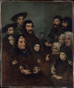 Breton Fishermen and their families. French realist Augustin Ribot (1823-1891)
