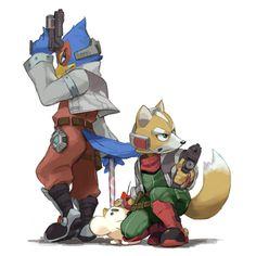 Falco and Fox (and Mr Saturn) - Star Fox Star Fox, Super Smash Bros Melee, Viewtiful Joe, Game Character, Character Design, Shining Tears, Fox Mccloud, Fox Games, Nintendo Characters