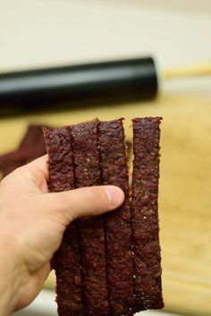 Midwest Ground Beef Jerky Like an easier chew to your jerky? This ground beef jerky has the flavor and an easy bite making it the perfect energy snack! Simple Beef Jerky Recipe, Ground Beef Jerky Recipe, Homemade Beef Jerky, Ground Deer Jerky Recipe Dehydrator, Dehydrator Recipes Jerky, Meat Dehydrator, Beef Sticks Recipe, Homemade Sushi, Oven Jerky