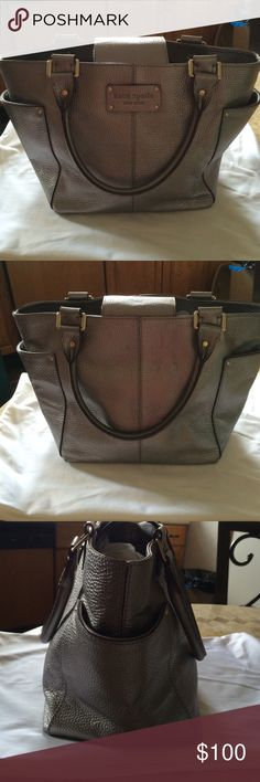 Kate Spade Silver Tote Beautiful like new Kate Spade bucket type tote with a pocket on each end. It also has an inside zipper and 2 slip pockets. This bag has a magnetic closure in center. kate spade Bags Totes