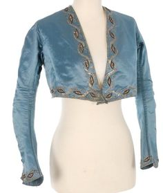 Spencer jacket, 1790-1815. Spencer jackets, worn by both men and women, stops at the waistline, could be made with or without sleeves, and could be worn indoors out outdoors.