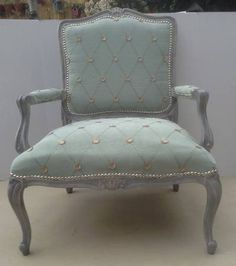 Love the fabric on this French chair