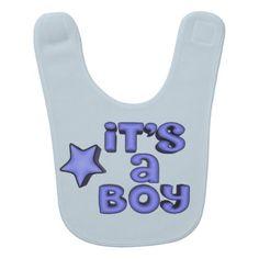 It's A Boy With Puffy Blue Star Baby Bib - blue gifts style giftidea diy cyo