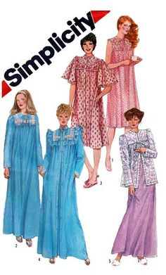 b3a175f38a Simplicity Pattern 5330 Vintage 1980 s Women s Nightgown
