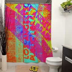 Los Angeles Public Library Shower Curtain by JanetAnteparaDesigns, $65.00 This bright and funky typographical design is made with photographs taken at the Los Angeles Public Library building.  #showercurtain #bathroom #homedecor #home #curtain #bath #shower #LosAngeles #LA #DTLA #LosAngelesPublicLibrary #Library #colorful #graphicdesign #Typography #urban #city