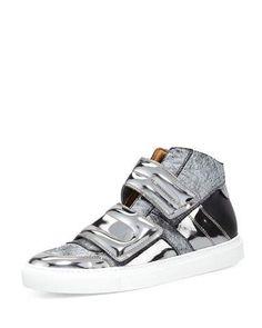 X38SQ MM6 Maison Martin Margiela Metallic High-Top Grip-Strap Sneaker, Black/Gunmetal